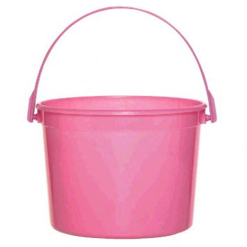 Bright Pink Plastic Bucket w/Handle