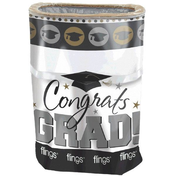 Black, Silver & Gold Grad Flings® Bin - Pop-Up Trash Bin