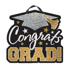 Black, Silver & Gold Congrats Grad Sign