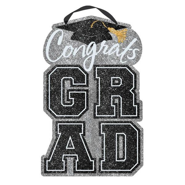 Black, Silver, Gold Happy Graduation Large Sign
