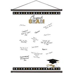 Black, Silver & Gold Grad Sign-In Scroll Sheet