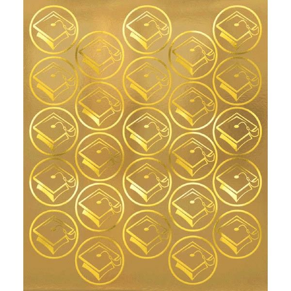 Grad Metallic Sticker Seals - Gold, 50ct
