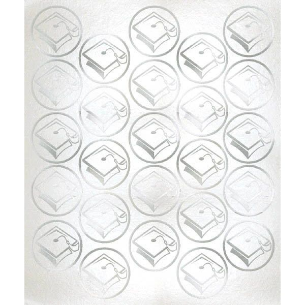 Grad Metallic Sticker Seals - Silver, 50ct