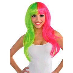 Glamorous Black Light Neon Pink & Green Wig