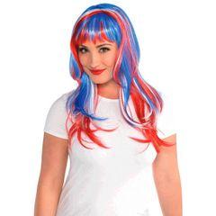 Glamorous Long Red, White & Blue Wig