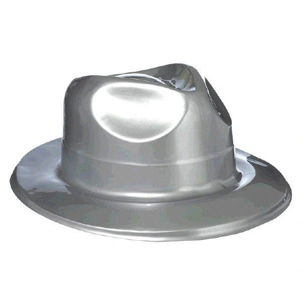Silver Plastic Fedora