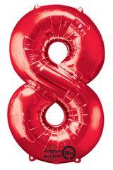 "34"" Red #8 Mylar Balloon"