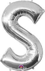 """34"""" Silver Letter S Balloon"""