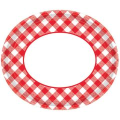 Red Gingham Oval Plates, 18ct