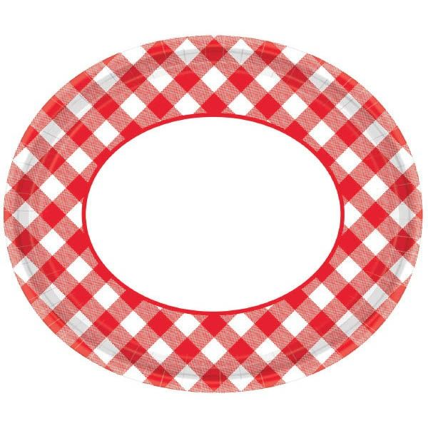 "Red Gingham Oval Plates, 12"" - 18ct"