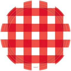 American Summer Red Gingham Dinner Plates, 10 1/2""
