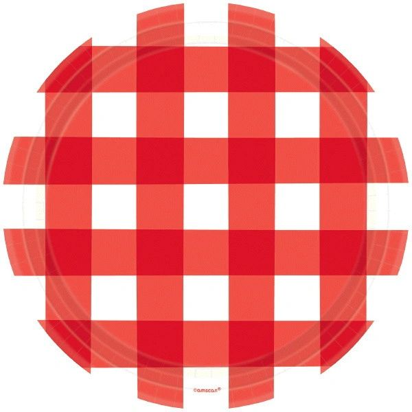 "American Summer Red Gingham Dinner Plates, 10 1/2"" - 8ct"