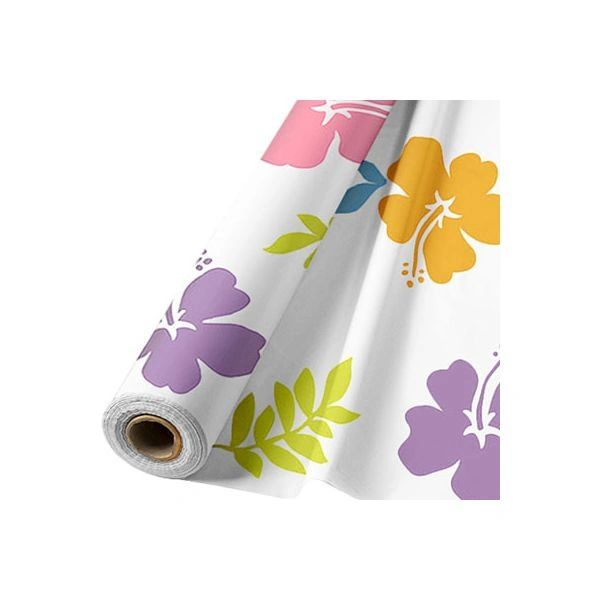 White Hibiscus Plastic Table Cover Roll 100' x 40""
