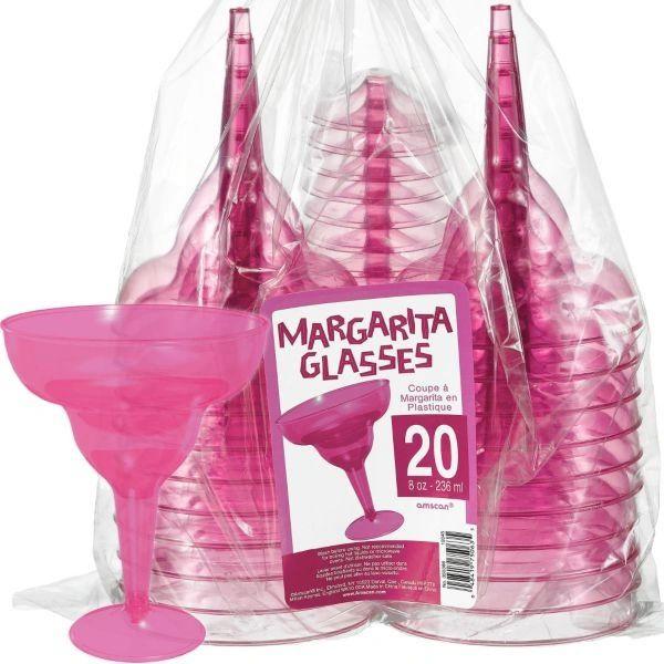 Transparent Pink Plastic Margarita Glasses 8oz 20ct