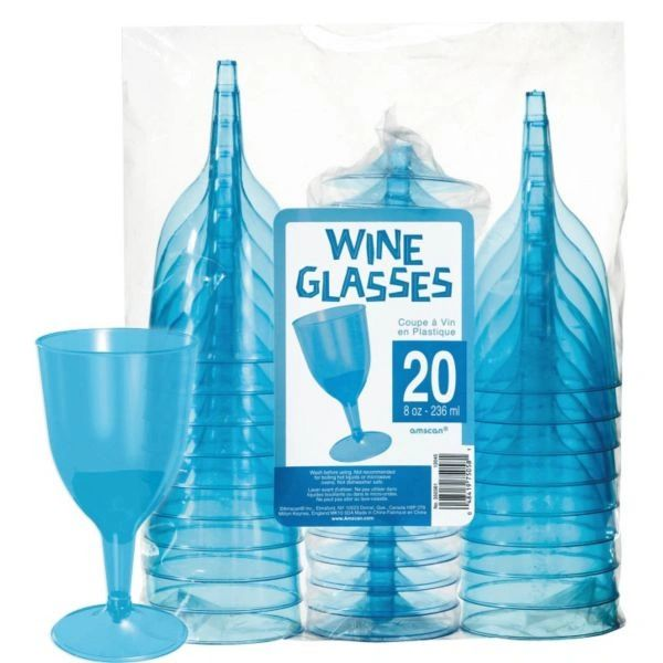 Transparent Blue Plastic Wine Glasses 8oz 20ct