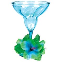 Floral Paradise Cool Plastic Margarita Glass 12oz