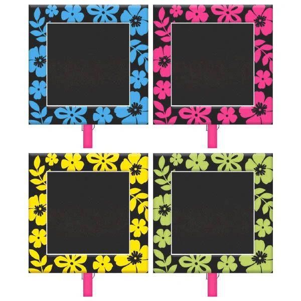 Neon Hibiscus Chalkboard Clips, 8ct