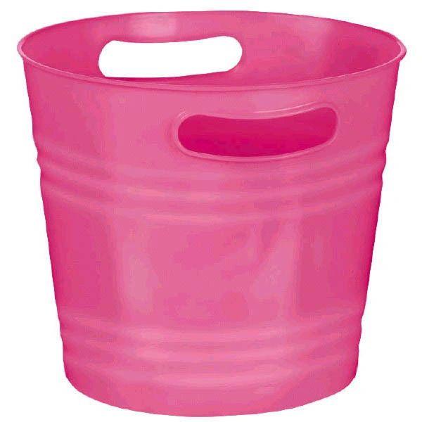 Bright Pink Plastic Ice Bucket