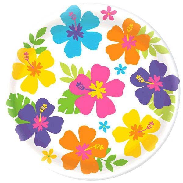 """Hibiscus White Round Platter, 13"""""""