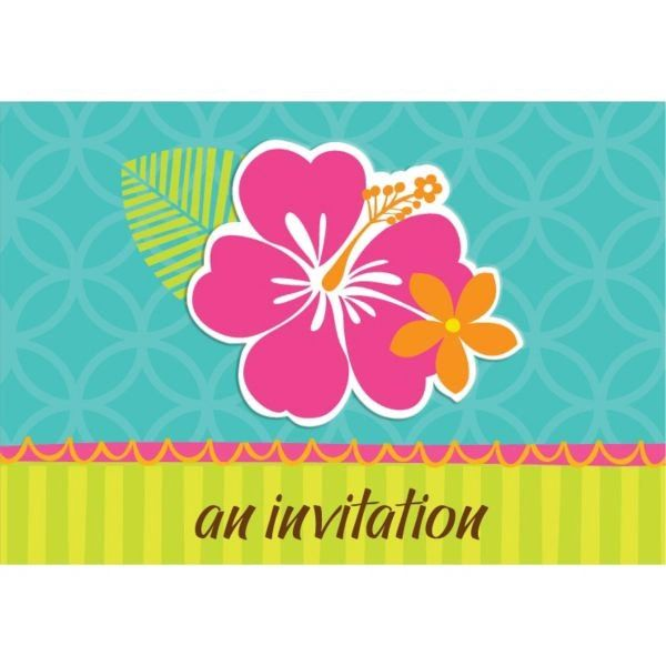 Hibiscus Splash Folded Invitations, 50ct
