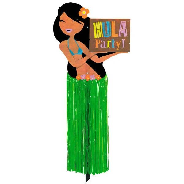 "Hula Girl w/Tissue Skirt Yard Sign, 37 1/4"""