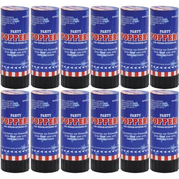Patriotic Confetti Party Poppers, 12ct