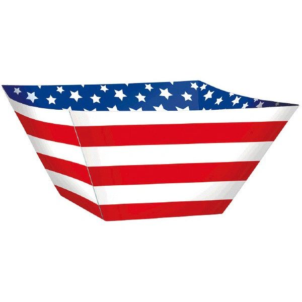 Red, White And Blue Paper Square Bowls, 3ct