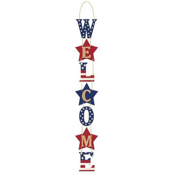 Rustic Americana Patriotic Stacked Welcome Sign