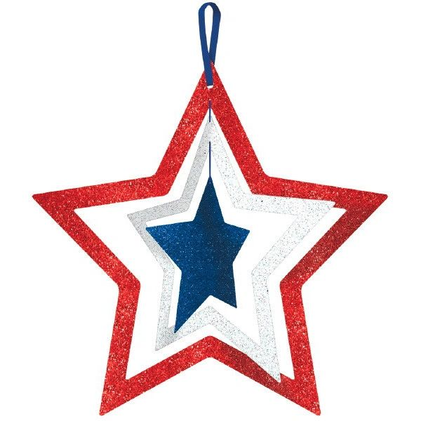 Glitter Patriotic Red, White & Blue Spinning Star Sign