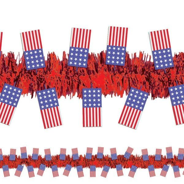 Red Patriotic American Flag Tinsel Garland, 15ft