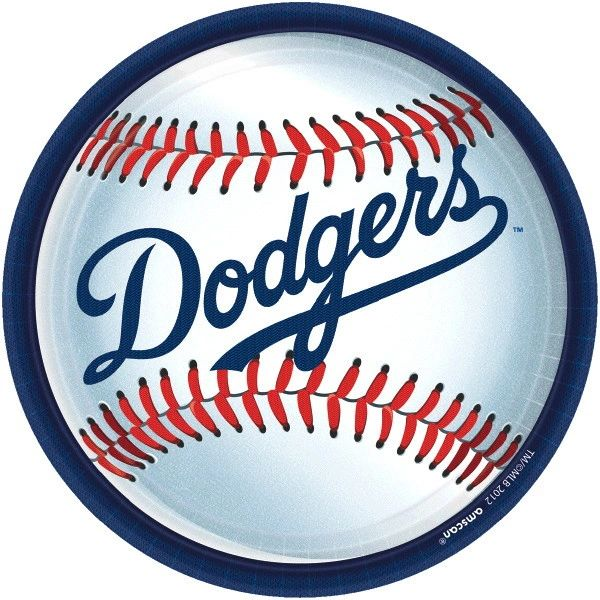 """Los Angeles Dodgers Round Lunch Plates 9"""" -18ct"""