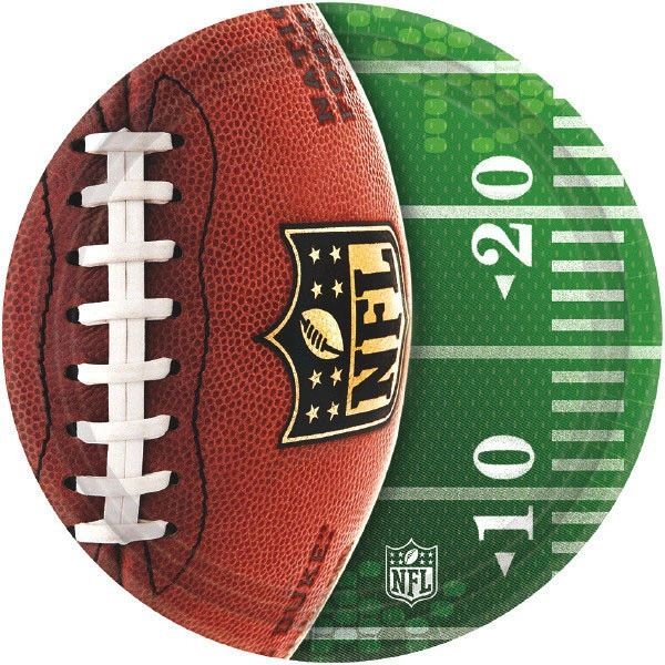 "NFL Drive Round Plates, 7"" - 8ct"