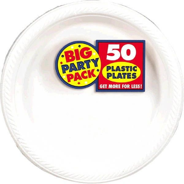 """Big Party Pack White Plastic Plates, 7"""" - 50ct"""