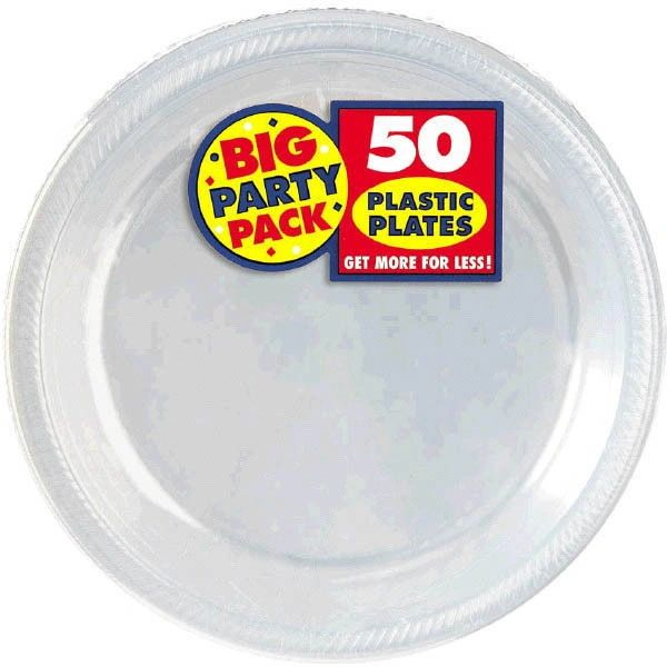 """Big Party Pack CLEAR Plastic Dessert Plates, 7"""" - 50ct"""
