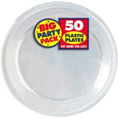 "Clear Big Party Pack Plastic Plates, 10 1/4"" - 50ct"