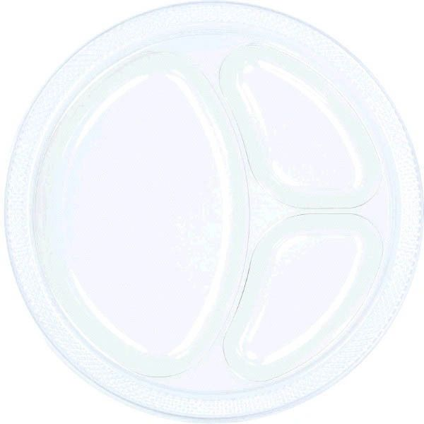 """Clear Divided Plastic Plates, 10 1/4"""" - 20ct"""