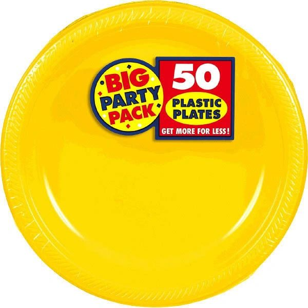 "Big Party Pack Yellow Sunshine Plastic Dinner Plates, 10 1/4"" - 50ct"