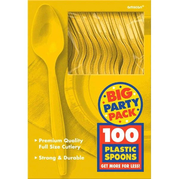 Big Party Pack Yellow Sunshine Plastic Spoons, 100ct