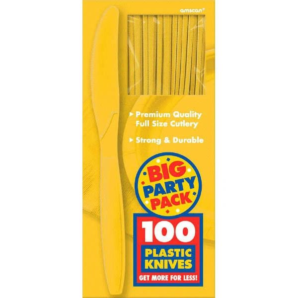 Big Party Pack Yellow Sunshine Plastic Knives, 100ct