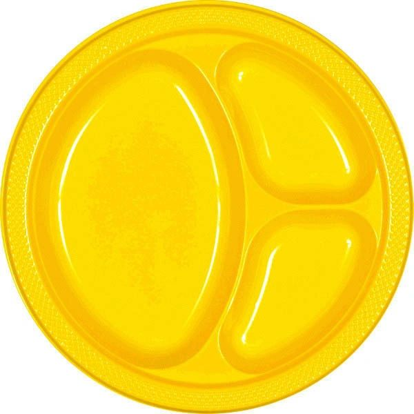 "Yellow Sunshine Divided Plastic Plates, 10 1/4"" - 20ct"