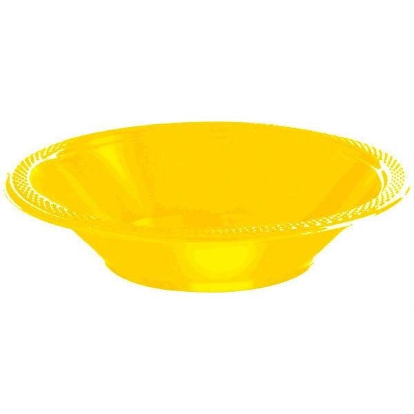 Yellow Sunshine Plastic Bowls, 12oz - 20ct