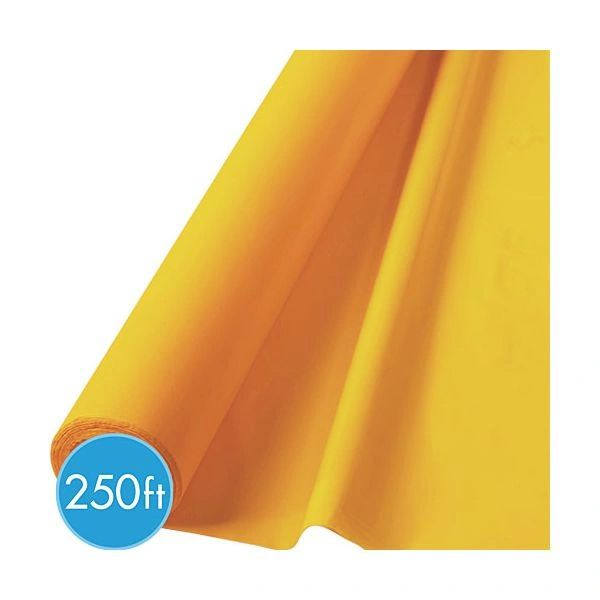"Yellow Sunshine Jumbo Plastic Table Roll, 40"" x 250'"