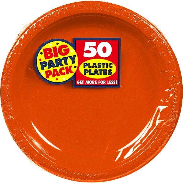 "Big Party Pack Orange Plastic Plates, 10 1/4"" - 50ct"