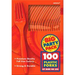 Big Party Pack Orange Plastic Forks, 100ct