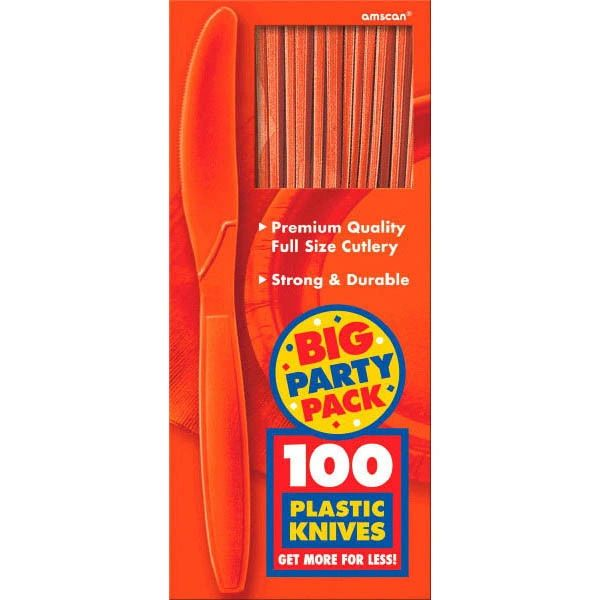 Big Party Pack Orange Plastic Knives, 100ct