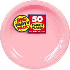 """Big Party Pack New Pink Plastic Dessert Plates, 7"""" - 50ct"""