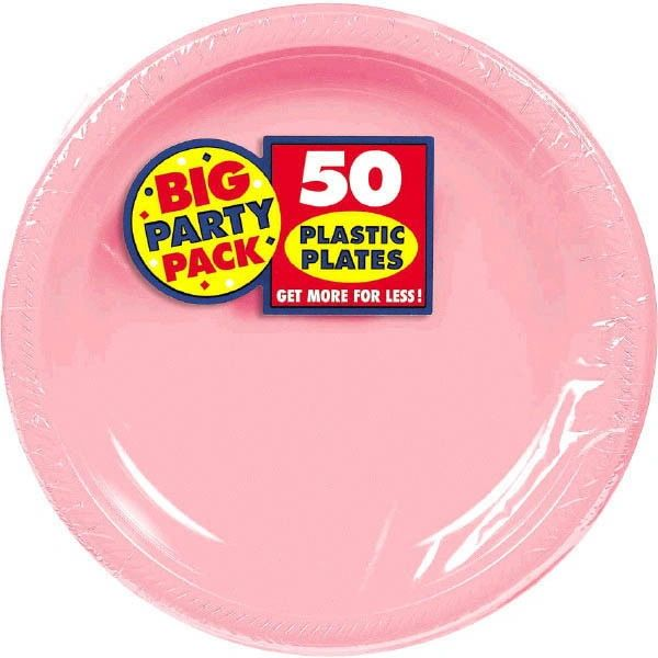 "Big Party Pack New Pink Plastic Dessert Plates, 7"" - 50ct"