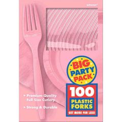 Big Party Pack New Pink Plastic Forks, 100ct