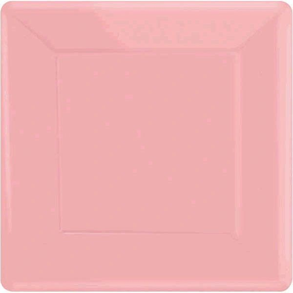 "New Pink Square Dessert Plates, 7"" - 20ct"