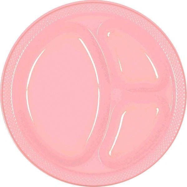 "New Pink Divided Plastic Plates, 10 1/4"" - 20ct"